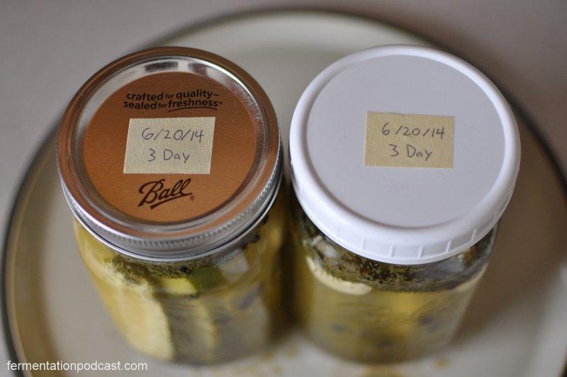 Labeled dill pickles