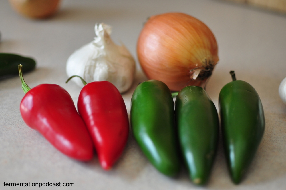 Red & green jalapenos, garlic, and onions for hot sauce
