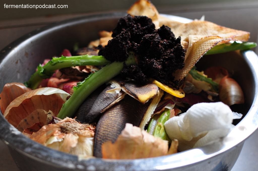 Kitchen food scraps for compost