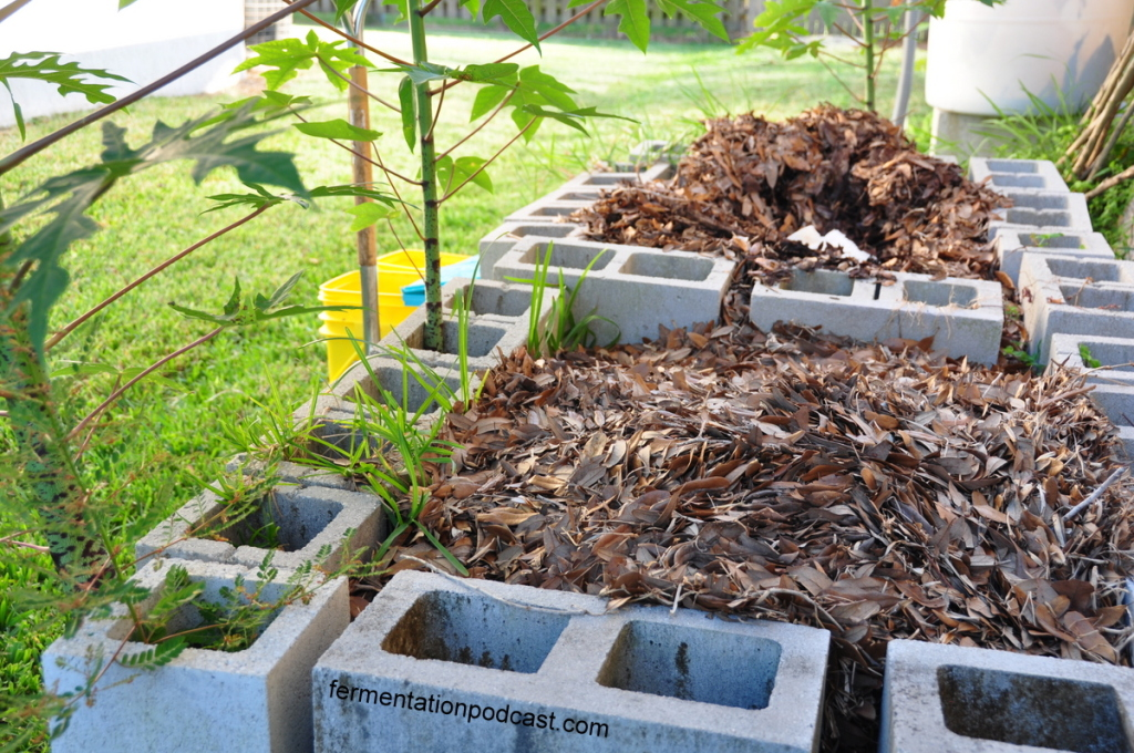 Two bin compost system with cinder blocks